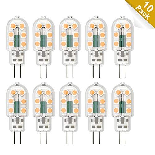 Klighten 10-Pack G4 LED Lampen, 3W 300LM G4 LED Birnen ersetzt 20W Halogenlampen, Warmweiß 3000K Nicht Dimmbar, Kein Flackern, AC/DC 12V