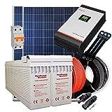 Kit Solar 24v 600w/3000w día Inversor Multifunción 3kva Regulador MPPT 60A Batería AGM U-Power TFS-250Ah