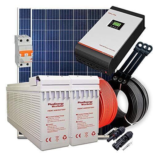 Kit Solar 24V 600W / 3.000W Día + 2 Paneles + 2 Baterías FT-250Ah + Inversor Multifunción 3kva con Regulador MPPT 60A