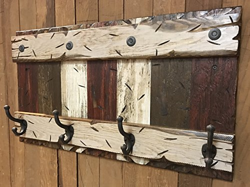 "COATRACK HOOKS Wall Rustic Distressed Wood Coat Rack with 4 metal hooks 28"" RUSTIC Coat Rack BURGUNDY BROWN COMBO Cabin Wall Home Decor Red"
