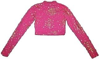 Womens Hot Pink Gold Luxe Medallion Dots Long Sleeve Crop Top