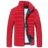 2019 - Chaqueta de plumón para Hombre, de algodón, Ligera, Piel cálida, con Cremallera, con Capucha, Color Liso, Elegante, Slim Fit Hoodie B-Rouge L