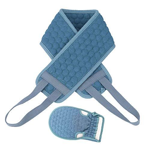 Exfoliante Espalda, exfoliante de doble cara Arandela de espalda Esponja y guantes de lavado de limpieza profunda Microfibra Depurador de ducha de espalda para hombres y mujeres (azul)