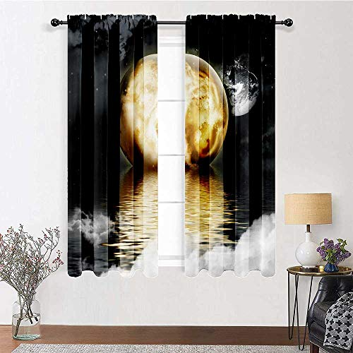 GugeABC Living Room Curtains 63 inch Length, Moon Moonshine Thermal Insulated Curtains 72' x 63' - Burning Moon Over The Sea Night Moonlight Scene Theme,