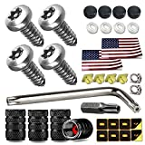 Aootf Anti Theft License Plate Screws- Stainless Steel Screws with Black Caps for Car Tag Frame, M6 (1/4