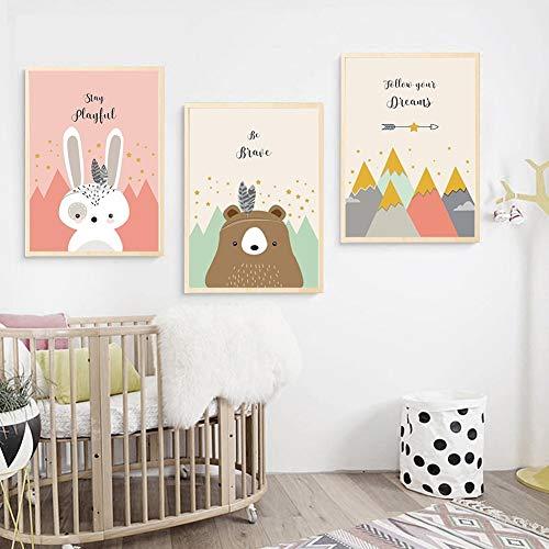 bdrsjdsb Cartoon Bär Kaninchen Fuchs Berg Leinwand Gedruckt Wandmalerei Poster Home Kinderzimmer Dekor 3# 30 * 40 cm