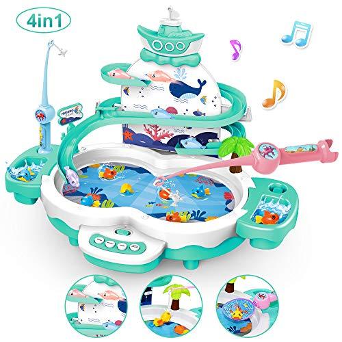 LBLA 4 in 1 Magnetisches Angelspiel Spielzeug für Kinder,Elektrisch Angelspiel Angeln Spielzeug Fische Angeln Spielzeug mit Angelrute,Lernen Spielzeug Motorikspielzeug (Grün)