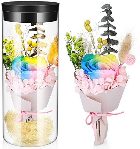 Shuainiu Flor eterna preservada Fresco Flor de Cristal de la Cubierta Flores Coloridas con la luz Colorida del LED transforma, día de San Valentín, día de la Madre, cumpleaños, Navidad