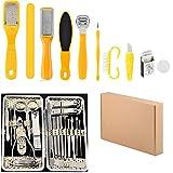 Kit de pedicura 10 en 1 y 19 en 1, juego de manicura, tijeras personales, cortauñas, escobillas de cuidado, pedicura para hombres y mujeres