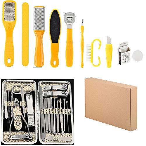 Juego de pedicura 10 en 1 y 19 en 1 juego de manicura, tijeras de manicura personal para unas Clipper Earpick Grooming Pedicure Kits para hombres/mujeres Nail Trimmer