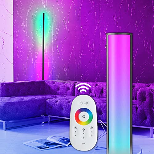 Lámpara de pie y foco de techo en color negro, RGB, cambio de color, moderna, regulable, LED de 56 pulgadas, con mando a distancia, lámpara de suelo de metal para salón o dormitorio
