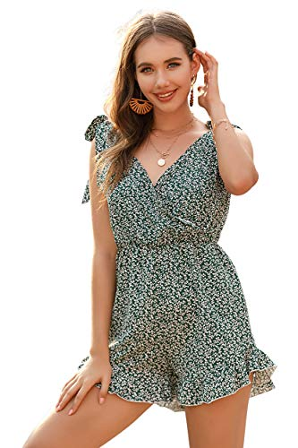 M.Nollby Women Casual Summer V Neck Sleeveless Jumpsuit Print Floral Shorts Romper
