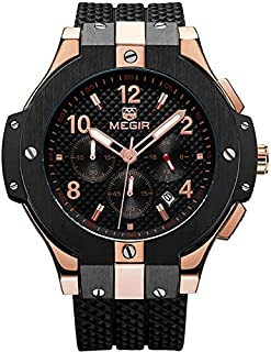 Megir Wrist Watch for Men, Silicone, MN2050GREBK-1N0