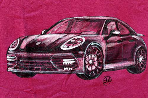 Porsche Panamera,Herren Auto Shirt, Original Gemälde Shirt, Autorennen, Auto-Dekor, Limited Edition, personalisieren Auto Art T-shirt, Ehemann Geschenk, Größe L 56/74.5 cm.