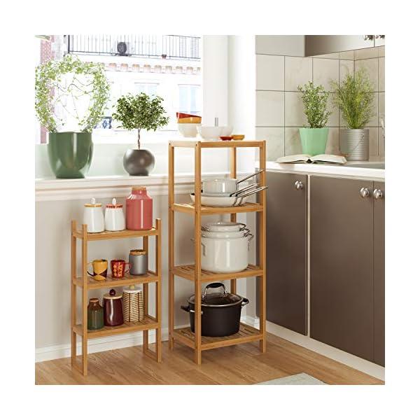 Homfs Estanterías separadas Bambú para baño con 7 niveles (4 grandes y 3 pequeños)