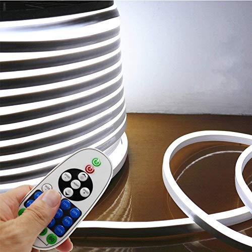 LED NEON Light, IEKOV AC 110-120V Flexible LED Neon Strip Lights, 120 LEDs/M, Waterproof 2835 SMD LED Rope Light + Controller Power Cord for Home Decoration (16.4ft/5m, White)