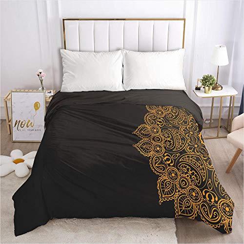 lhmlyl Matratze 3D Bettwäsche Bettbezug schwarz Gold Muster-Schwarz 030-Schwarz-Q1_210 * 210 cm