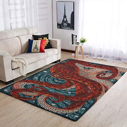 XunYun Area Rugs Octopus - Alfombra clásica de cristal para decoración del hogar, 91 x 152 cm, color blanco