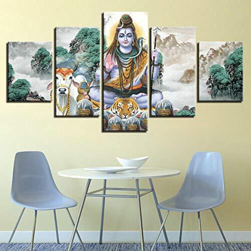 Preisvergleich Produktbild YFTNIPL 5 Stück Moderne Leinwand Drucken Lord Shiva Nandi Bull Tiger Hd Wandkunst Beste Wohnkultur Für Wohnzimmer Schlafzimmer Leinwand Malerei Bild Wand Poster Malerei Dekorationen