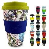 Morgenheld Vaso de bambu diseño moderno, Coffee-to-Go, vaso para café con tapa de silicona, 400ml - Wave