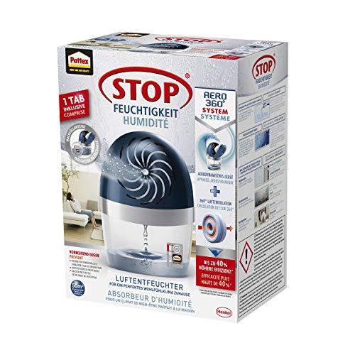 Pattex Stop Feuchtigkeit AERO 360° Luftentfeuchter, hocheffizienter Raumentfeuchter, nachfüllbarer Entfeuchter reduziert Feuchtigkeit, Gerüche & Schimmel, 1 Gerät inkl. 450g Tab
