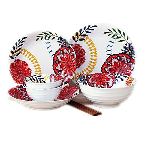 JIAWEI Haushalt Dish Set, Schüssel Teller Geschirr Chinese Kombination Besteck, Kloß Dish, Sauce Teller, Geschirr Set - Lackiert(:8 Pieces