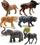 SaleON 6pc Large Size Wildlife Original Look Premium Quality Wild Animal with Detailing , Children Puzzle Early Education Gift Mini Jungle Animal Toy Set Realistic Animal Figures Toys for Kids (1333)
