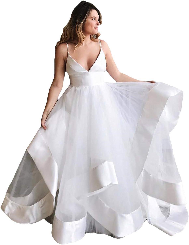Liyuke Women's Sexy VNeck Wedding Dress Ruffled Backless Bridal Dress Chapel Train