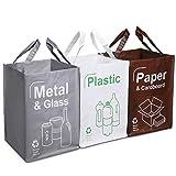 Opret Cubo Basura Reciclaje 3 Pack Bolsas de Reciclaje Separadas con Asas Gran...