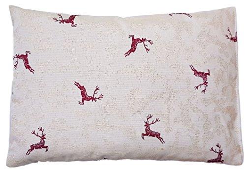 Cuscino di cembro con cervo rosso riempito con trucioli di cembro in 100% legno di cembro alpino, 30 x 20 cm