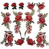 Parches Ropa Termoadhesivos De Flores Rosa De Hierro En Bordados Apliques Para Zapatos Bolso (Rojo)