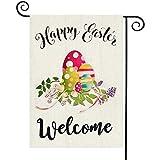 TGOOD Happy Easter Garden Flag Decorations Outdoor Banner,Bunny Eggs Welcome Flag ,12.5x18inch Double Sided Buffalo Check Plaid Durable Burlap Home Decor Flag,Farmhouse Yard Sign Holiday Seasonal Flag
