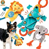 AWOOF Dog Toys Set, Tug of War Interactive Dog Toys - Durable Plush Puppy Toys Dog Squeaky Toys with Rope, Squeakers, Crinkle Paper and Teething Ring