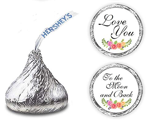 324 Floral Roses Love You to The Moon and Back. Kisses Wedding Stickers, Chocolate Drops Labels Stickers for Weddings, Bridal Shower Engagement Party, Party Favors for Hershey's Kisses