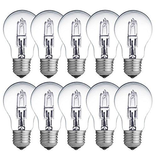 Lot de 10 ampoules halogènes Eco 70 W = 100 W / 92 W E27 Transparent 2000 h à intensité variable