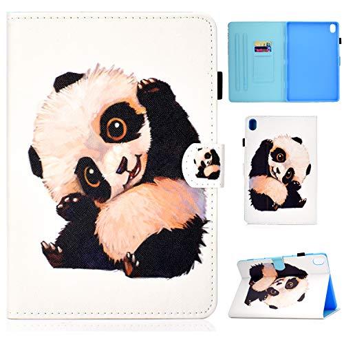 Succtop Case for Lenovo Tab M10 10.1, PU Leather Ultra Slim Stand Hard Flip Fold Multi-angle Cover Case M10, Card Slot Pen Strap Tablet Cover Lenovo Tab M10/P10 10.1, Beckoning Panda