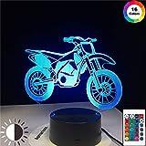 KangYD Modelo de motocicleta de montaña con luz nocturna 3D, lámpara de ilusión LED, B - Base negra remota (16 colores), Regalo de Halloween, Lámpara de decoración, Lámpara de ambiente