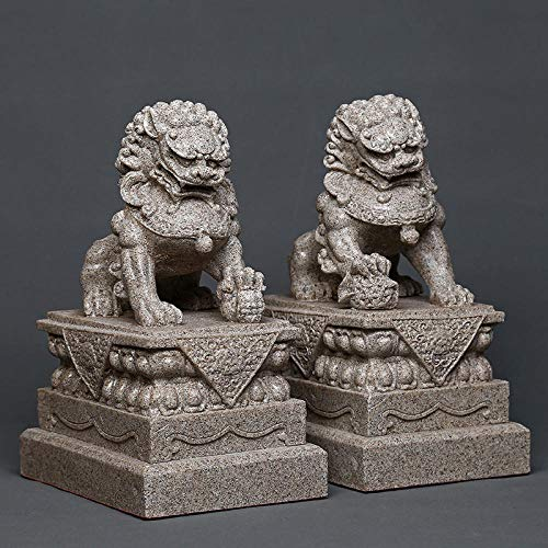DDXW Ornaments Statues Sculptures 27Cm A Pair of Mighty Stone Rock Lion Statue Resin Animal Figurine Statue Crafts Decorative Ornaments Home Gift