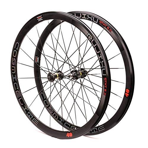 700C Zestaw kołowy do rowerów szosowych Obręcz z podwójną ścianką 40 mm Ostre koło rowerowe 1.37 & razy;24 TPI Single Speed Carbon Fiber Hub Sealed Bearing Koło rowerowe (kolor: B)