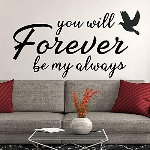 WERWN Forever Love Quotes Pegatinas de Pared calcomanías de Vinilo para Pared para niños Dormitorio de Pareja habitación de bebé decoración del hogar pájaro Paloma Letras Mural