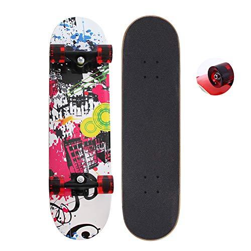 EnjoyFit Skateboard für Kinder Jungendliche und Erwachsene, Komplettboard mit Transparent Leuchtrollen inkl. Alu Truck und ABEC - 7 Kugellager 80 x 20 cm, Belastbarkeit 150 kg (Schöne Stadt)