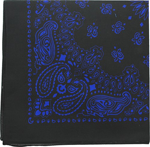 "ARMYU Classic Trainmen Paisley Bandanas, Military Army Head Scarf Do-rag Cotton Bandanna (Black & Royal Blue - 22"")"
