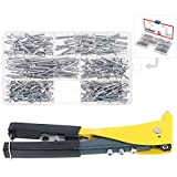 Hilitchi Professional Pop Rivet Gun with Assorted 210Pcs Aluminum Rivets Assortment Kit for Sheet Metal, Automotive, and Duct Work