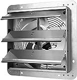 iPower 12 Inch Shutter Exhaust Fan Aluminum,High Speed 1620RPM, 940 CFM, 1-Pack, Silver