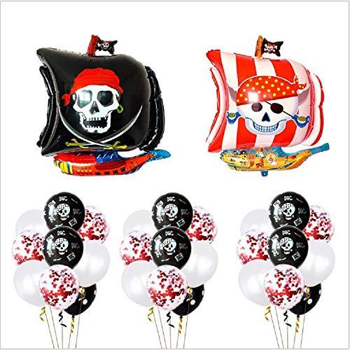 BESTZY Piraten Party Luftballons, Piraten Luftballons Set Geburtstag Party Dekoration Folienballons Piraten, Luftballons Pirat, Rote Pailletten Ballons, Weiß Ballons für Piraten Kindergeburtstag Party