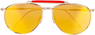 QH Retro Big Face Polarized Metal Pilot Male Lady Round Face Driving Sunglasses, Outdoor (Color : Yellow)