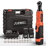 JUEMEL - Llave de carraca inalámbrica de 16,8 V con 2 baterías de iones de litio de 2,0 Ah, cargador rápido, 7 enchufes, 2 destornilladores y adaptador de 1/4 pulgadas (M)