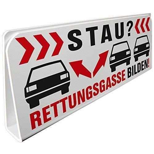 Klemmschild fuer Sonnenblende Auto - STAU Rettungsgasse bilden - 309519 Gr. ca. 29,5cm x 10cm x 2,5cm