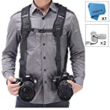 Camera Shoulder Double Strap Harness Quick Release Adjustable Dual Camera Tether Strap