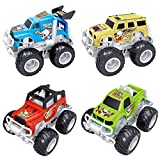 Liberty Imports 4-Pack Big Wheel Monster Truck Toys 4x4 Friction Powered Push and Go Stunt Cars Toys for Kids